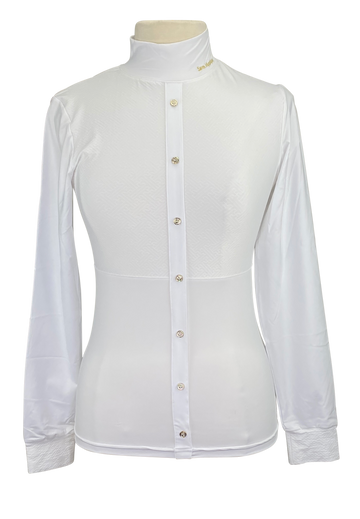 Front of Sarm Hippique Stella Show Shirt in White - Women's Large