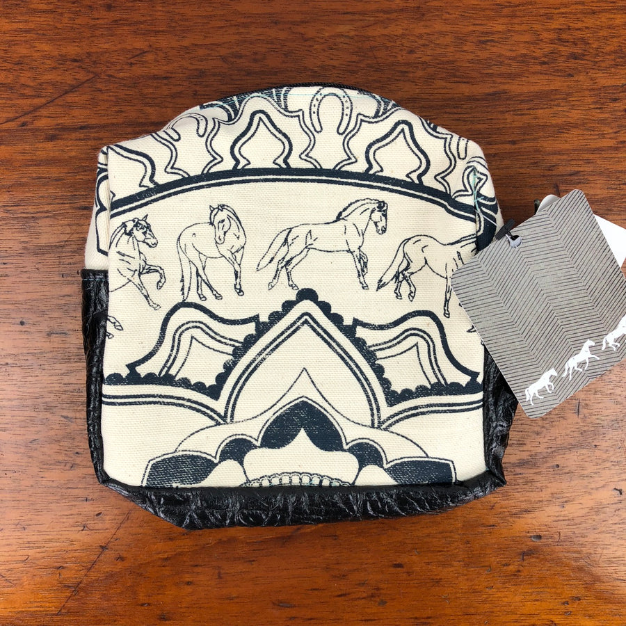 NWT Spiced Equestrian Mandala Zip Makeup Bag in Cream - One Size