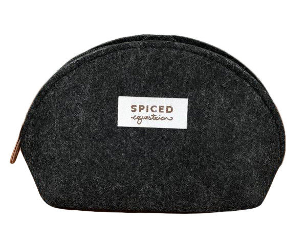 NWT Spiced Equestrian Felt Makeup Bag in Grey - One Size