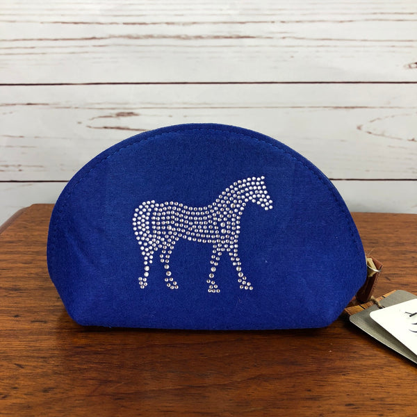 Spiced Equestrian Felt Makeup Bag in Blue - One Size