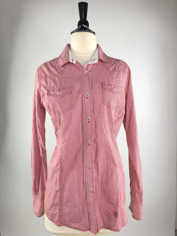 Ariat Karli Button Up Shirt in Red Gingham- Front View