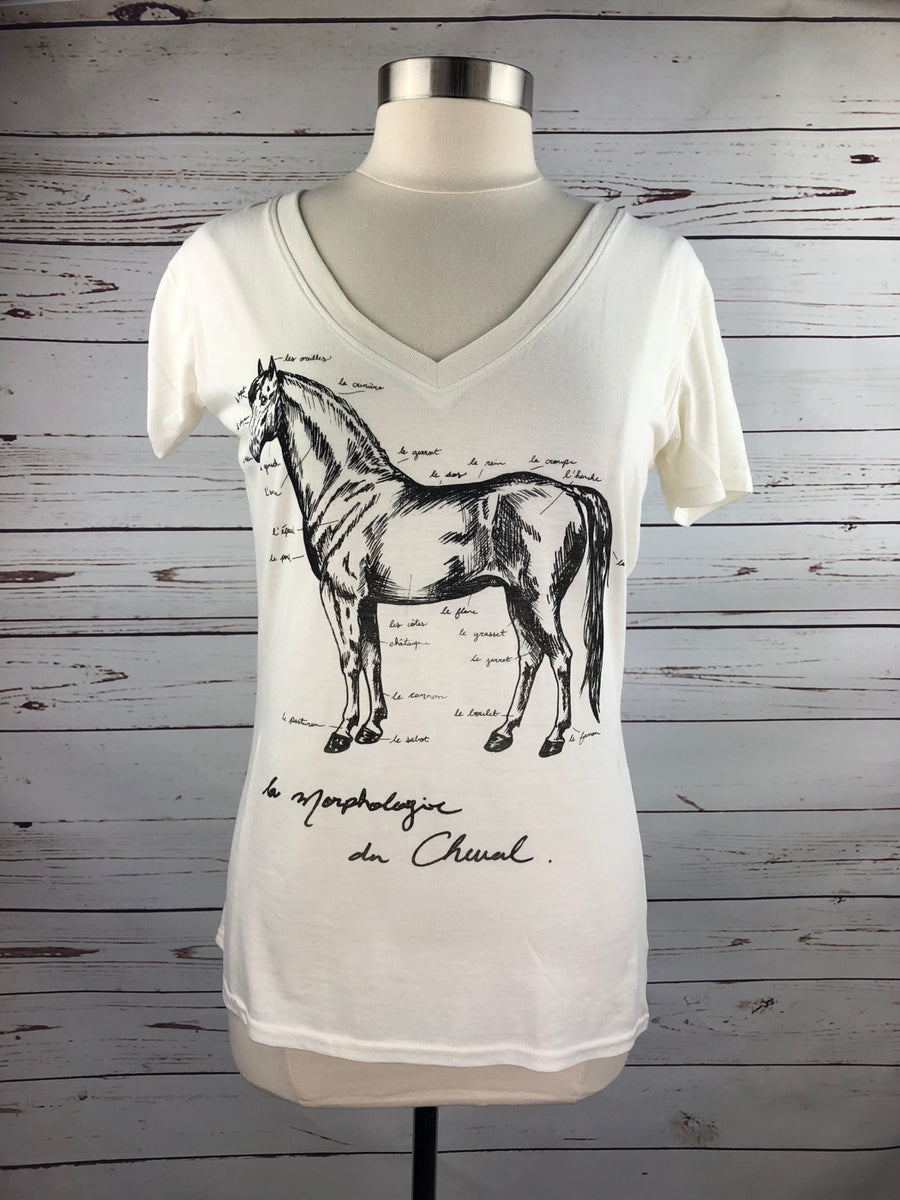 Spiced Equestrian Cheval Deep V-Neck in Oatmeal - Women's Large