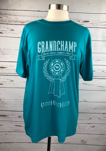 Spiced Equestrian Grand Champ Tee in Teal - Unisex Large
