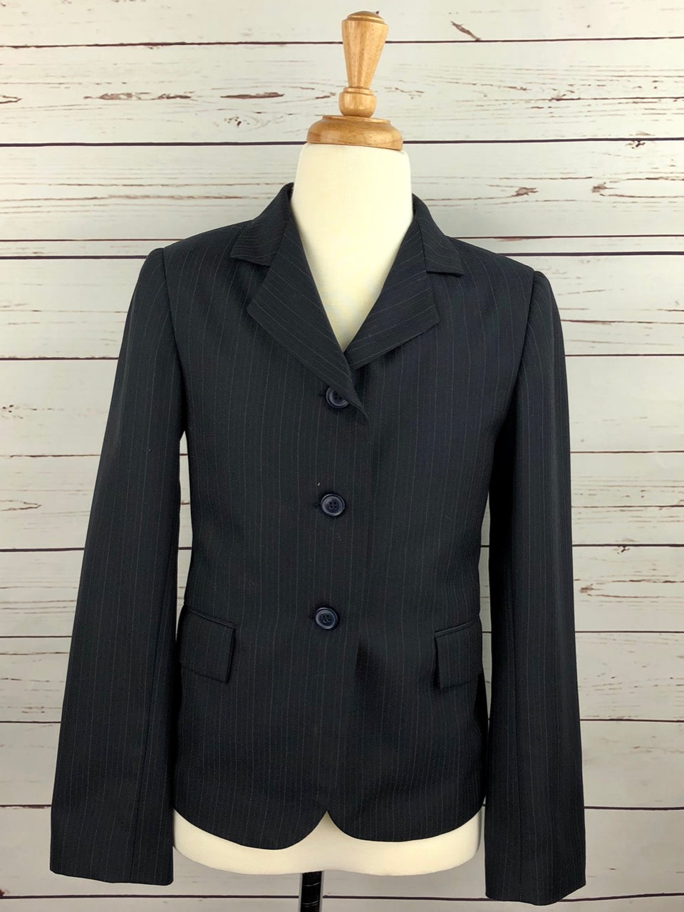 Devon-Aire Concour Elite Hunt Coat in Navy Pinstripe - Children's 12R