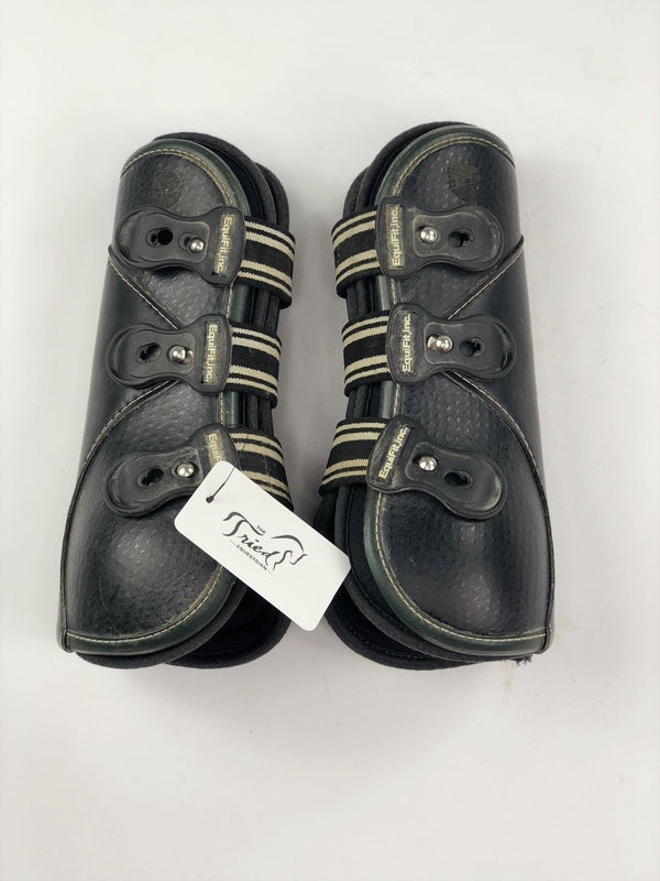 EquiFit D-Teq Front Boots in Black Ostrich/Green Binding - Size XL