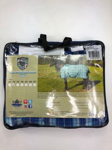 Kensington Plaid Cotton Day Sheet in Blue Ice -Package View