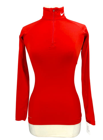 Nike Pro Combat 1/4 Zip in Strawberry Red - Women's XS
