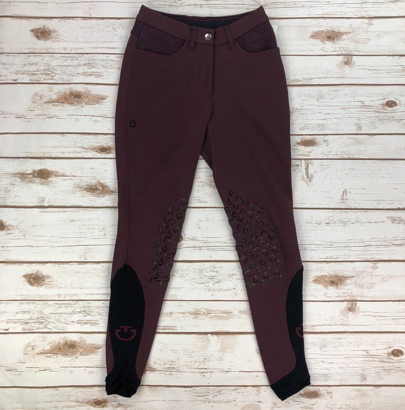 Cavalleria Toscana Raised Detail Grip Breeches in Burgundy - Women's IT 36