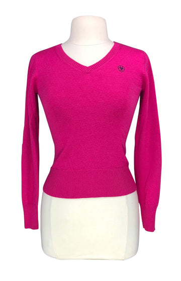front view of Ariat Ramiro Sweater in Pink/Navy - Women's XS