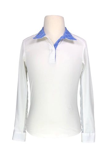 front view of Essex Classics Talent Yarn Wrap Collar Show Shirt in White/Blue Windowpane - Girls M