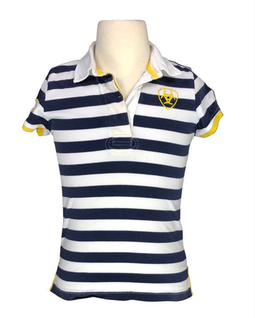 front view of Ariat Stripe Rugby Polo in Navy/White/Yellow - Children's M