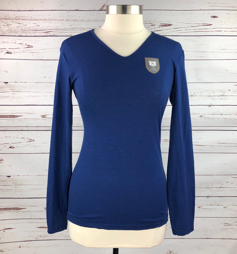 Asmar Equestrian Merino Wool V-Neck Sweater in Navy - Women's Medium
