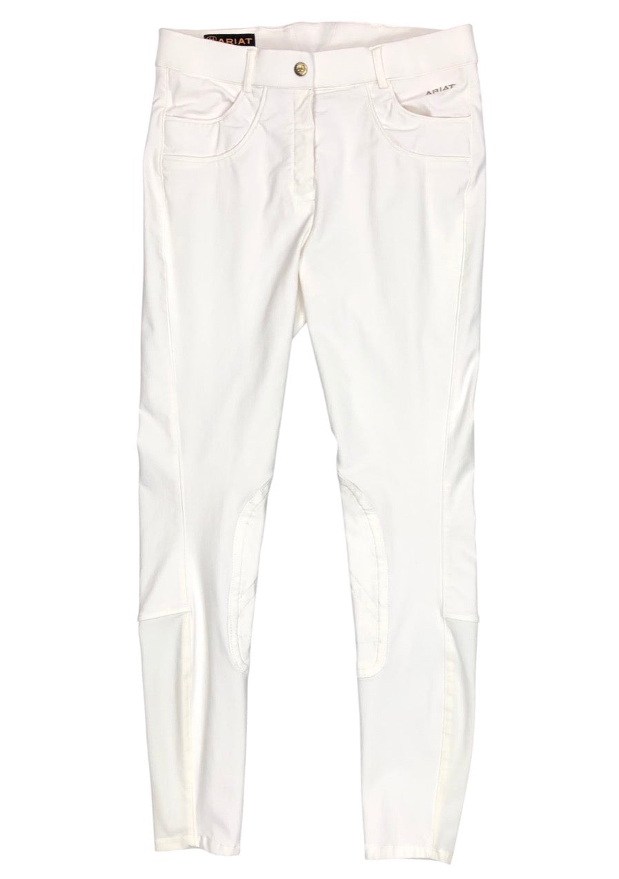 front view of Ariat Olympia Knee Patch Breeches in White - Women's 26L