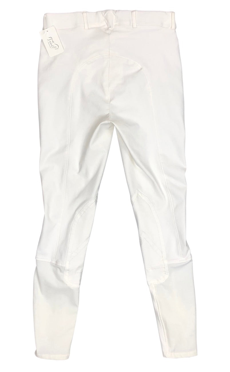 back view of Ariat Olympia Knee Patch Breeches in White - Women's 26L
