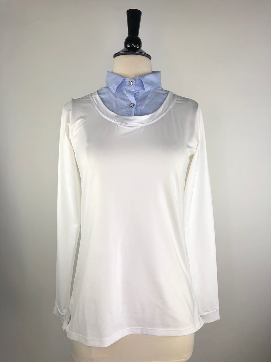 Callidae Long Sleeve Practice Shirt in White/Sky Blue - Front View