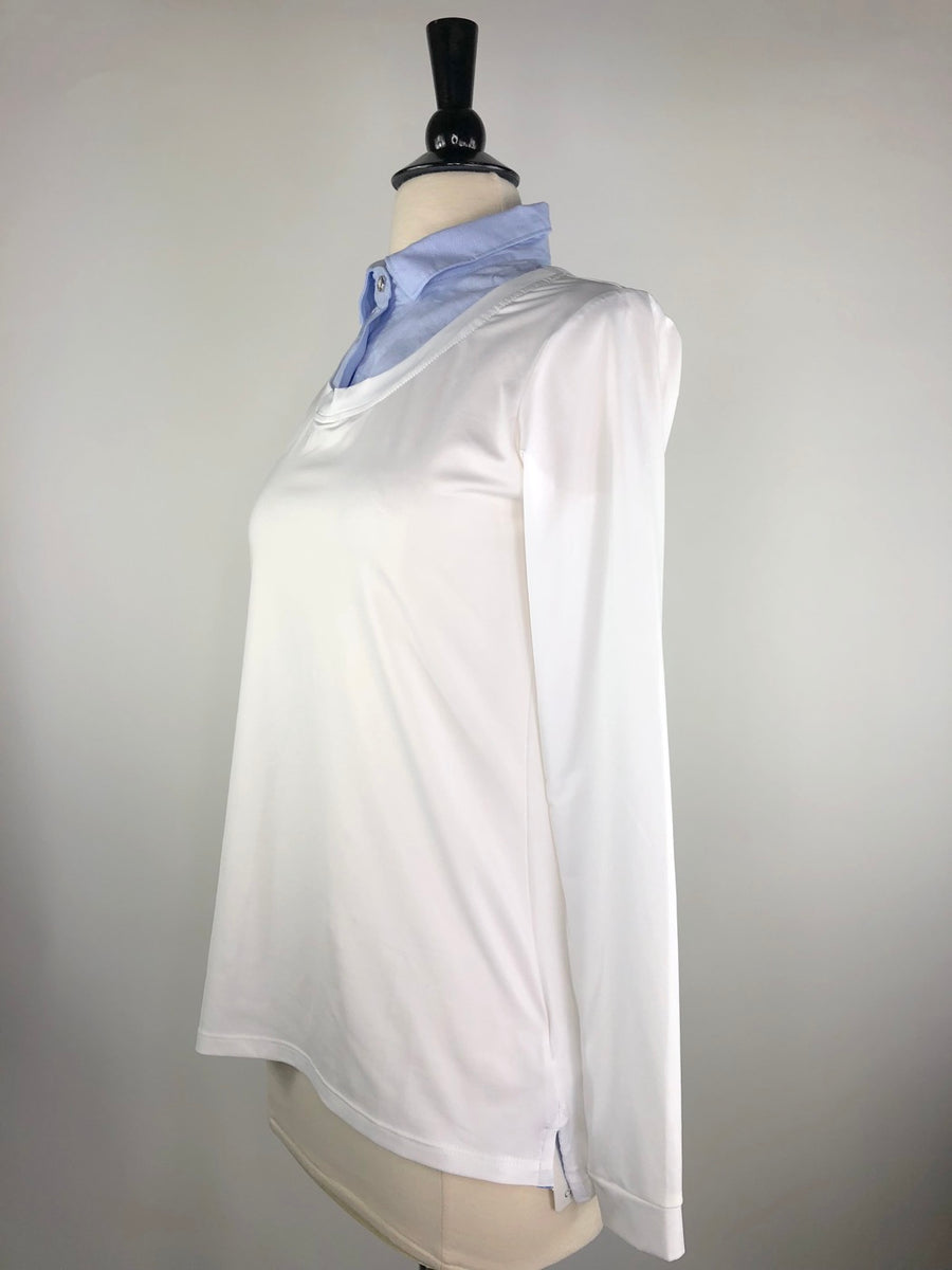 Callidae Long Sleeve Practice Shirt in White/Sky Blue - Left Side View