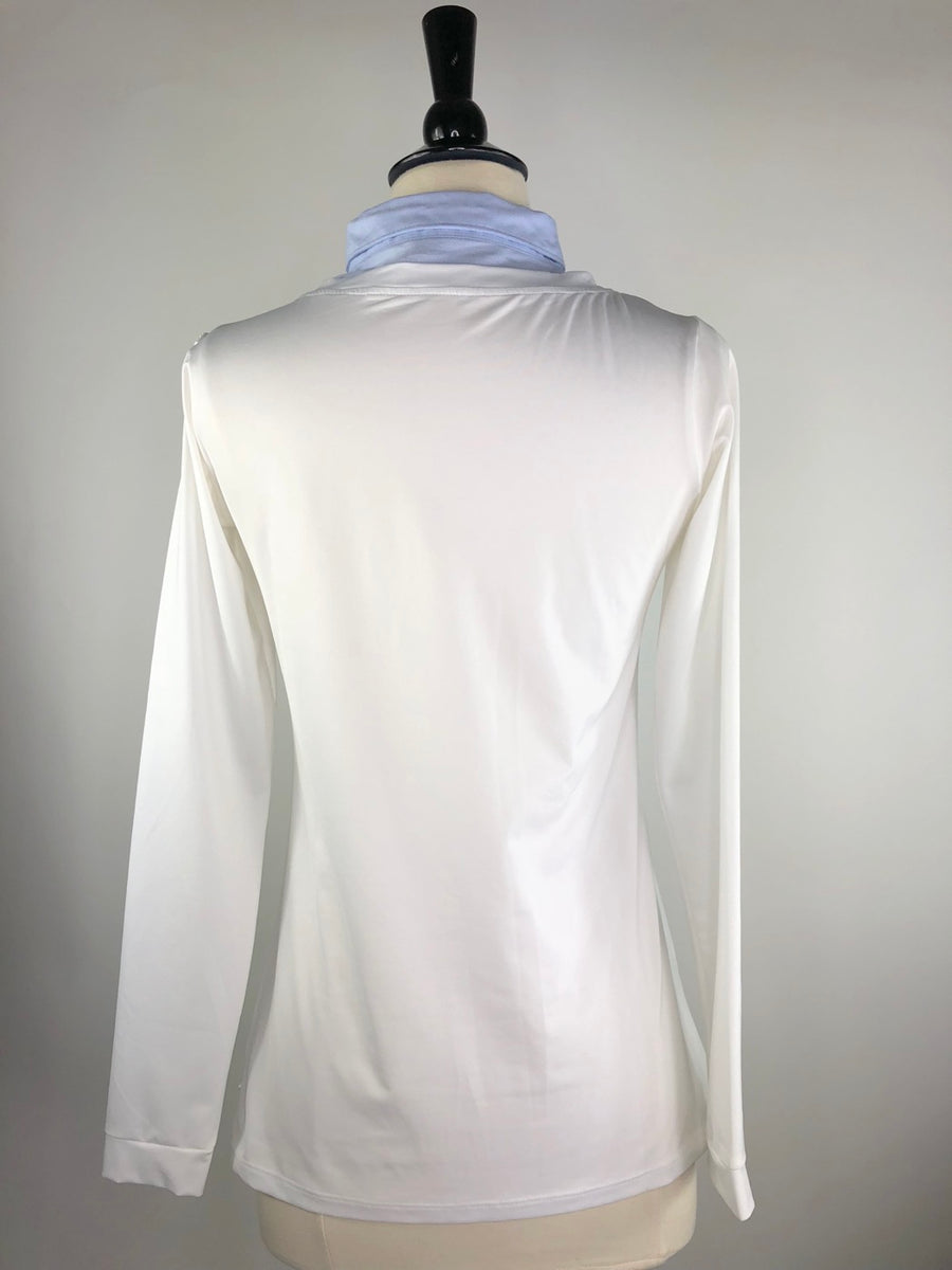 Callidae Long Sleeve Practice Shirt in White/Sky Blue - Back View