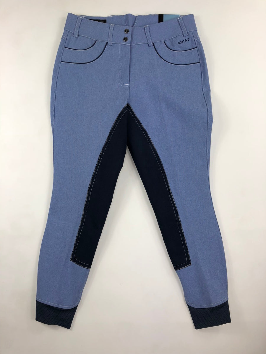 Ariat Olympia Acclaim Regular Rise Full Seat Breeches in Chambray- Front View