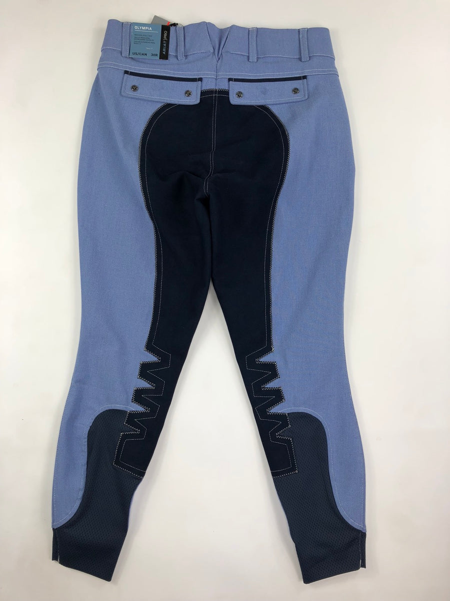 Ariat Olympia Acclaim Regular Rise Full Seat Breeches in Chambray- Back View