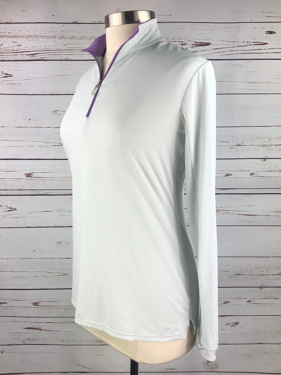 Kastel Charlotte Sun Shirt in Lt. Grey/Purple Trim - Women's Large