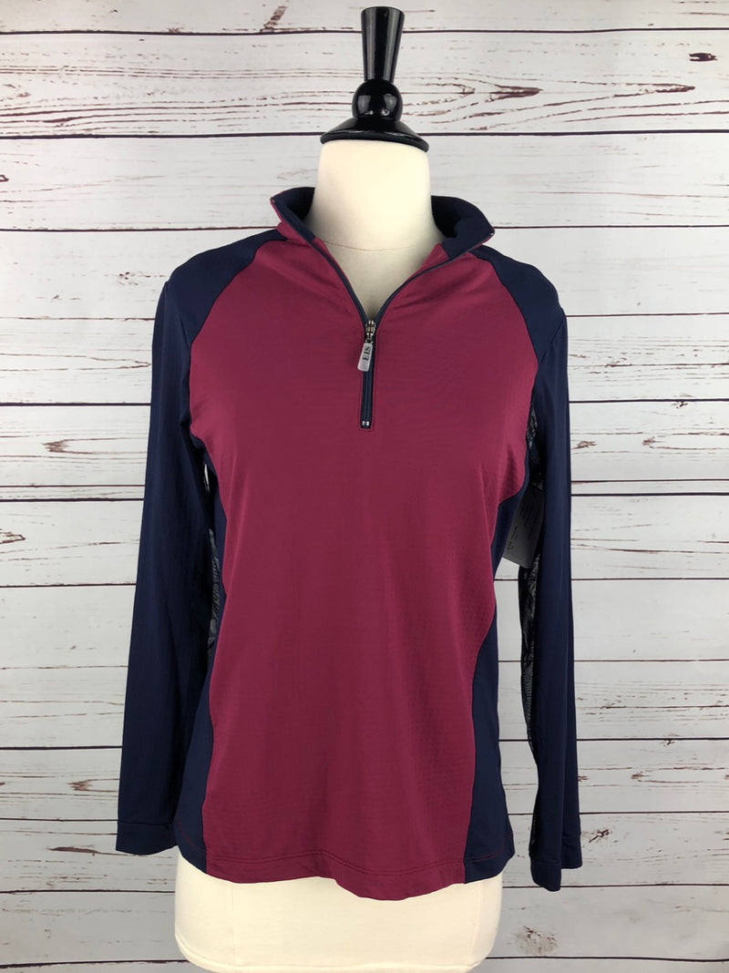 EIS Paneled Cool Shirt in Navy/Burgundy  - Women's Medium