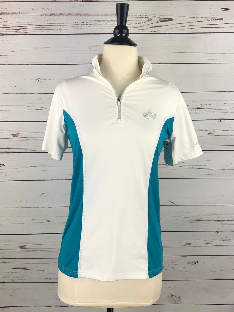 Kingsland Technical Zip Polo in White/Teal  - Women's Small