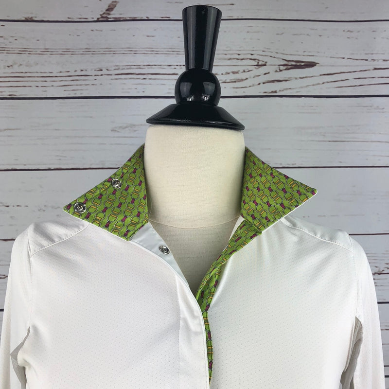 Essex Classics Talent Yarn Show Shirt in White/Chartreuse Stirrup - Women's XS