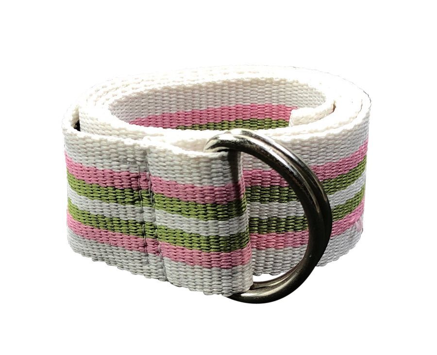 rolled view of Equine Couture Striped Web Belt in White/Pink/Green - Women's M