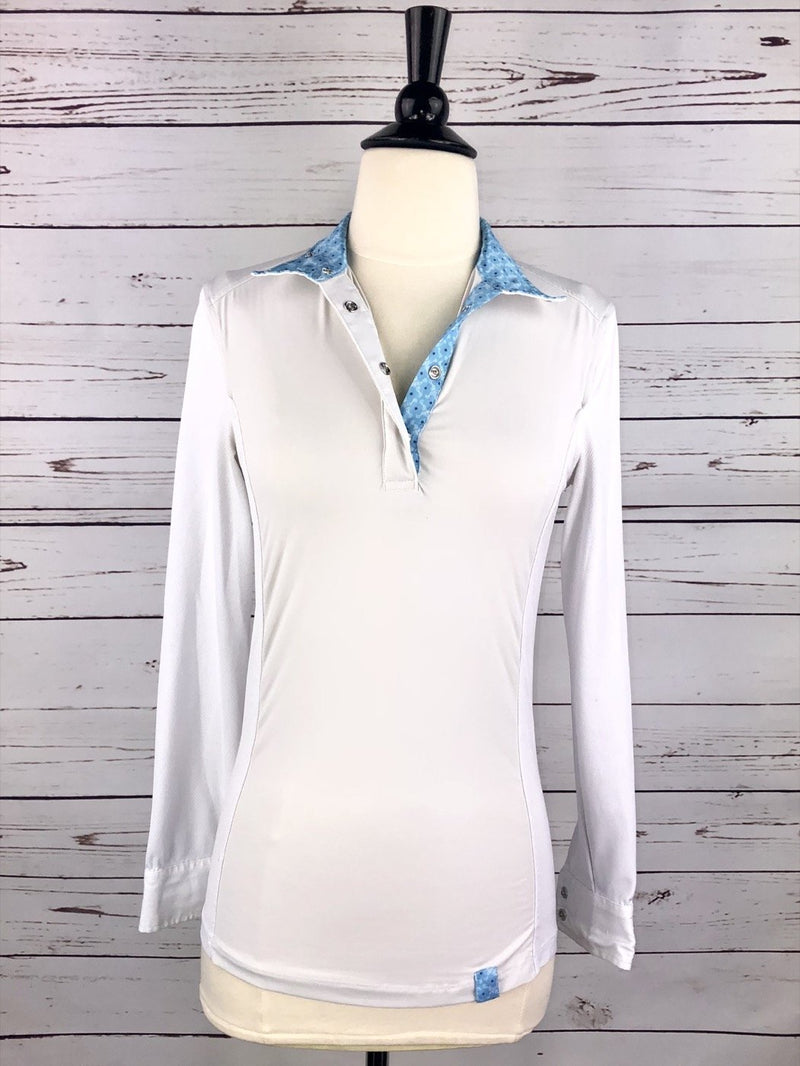 Tredstep Solo Long Sleeve Competition Shirt in White/Blue - Women's XS
