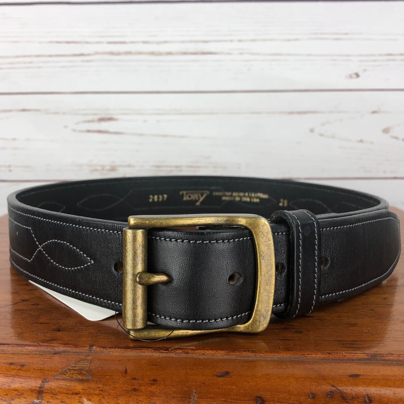 Tory Leather Triple Stitched Pattern Leather Belt in Black - 28""