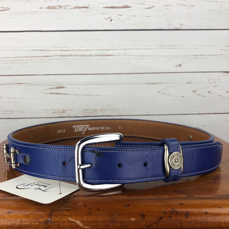 Tory Leather Snaffle Bit Belt in Blue - 30""