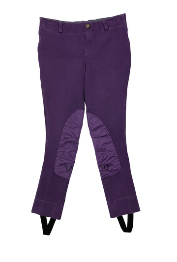 TuffRider Cotton Embroidered Pull On Jods in Purple - Children's 10 | M
