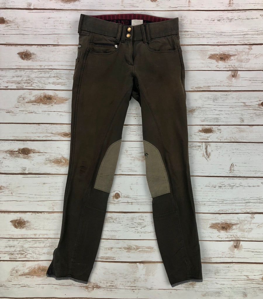 Grand Prix Knee Patch Breeches in Brown -Front View