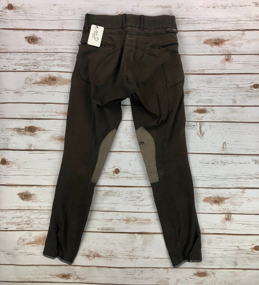 Grand Prix Knee Patch Breeches in Brown -Back View
