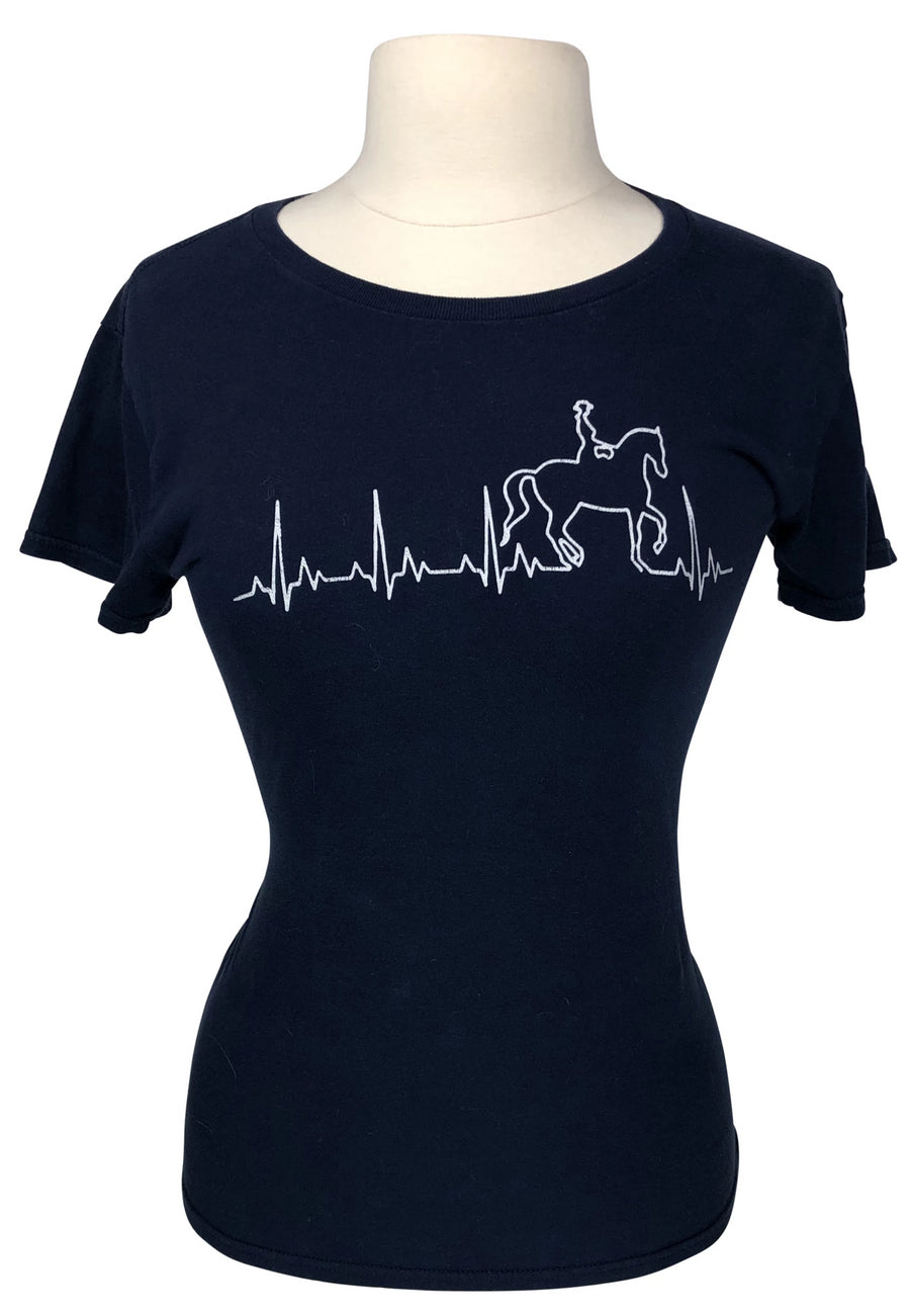 front view of Dressage Heartbeat Love T-Shirt in Navy - Women's M