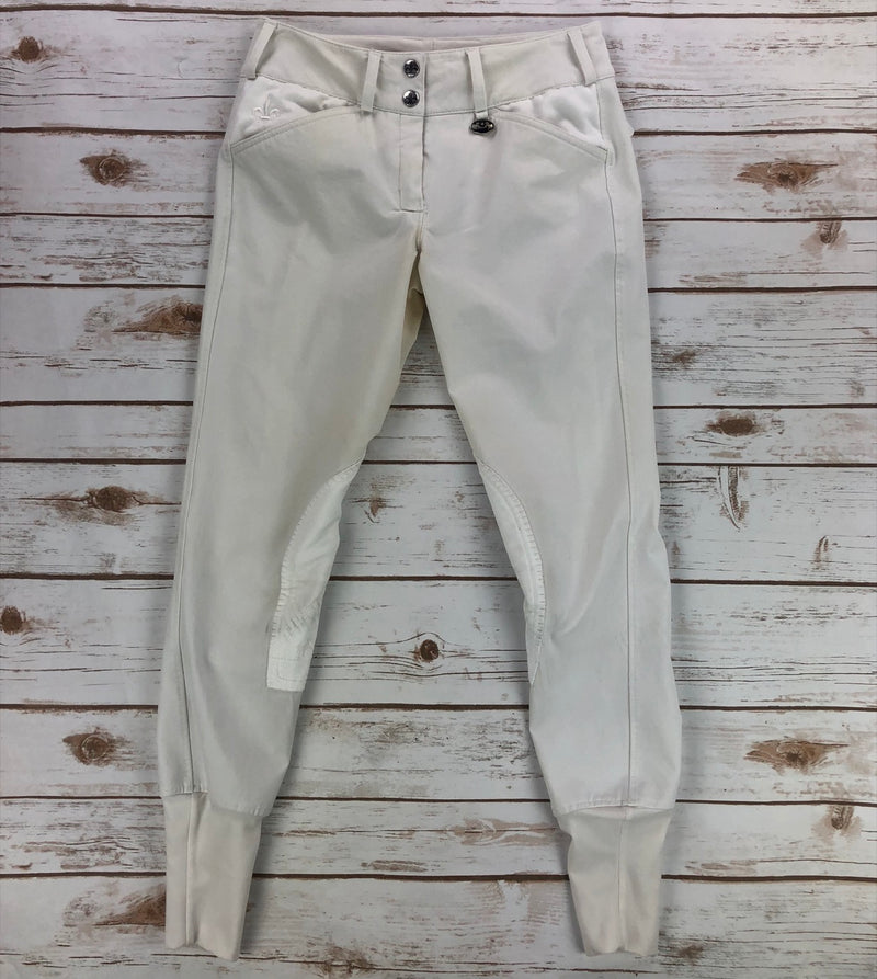 Equine Couture Debbie Stephens Knee Patch Breeches in White - Women's 24