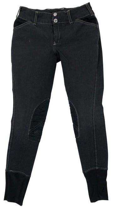 Equine Couture Sportif Natasha Breeches in Black/Lt Tan - Children's 12 | M