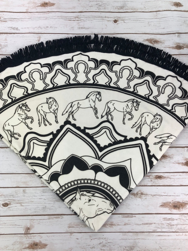 Spiced Equestrian Mandala Roundie Beach Towel  in Black/White - One Size
