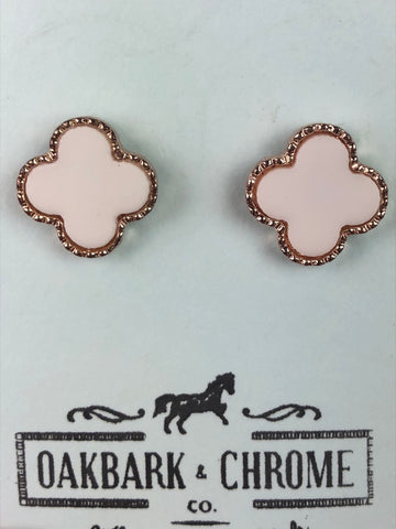 Oakbark and Chrome Trellis Earrings in White/Gold - Front View