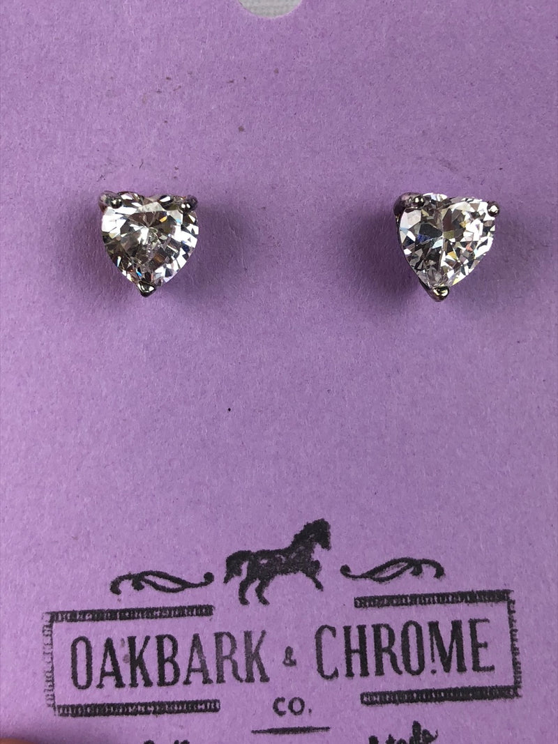 Oakbark and Chrome Crystal Heart Earrings in White - One Size