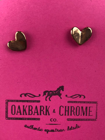 Oakbark and Chrome Heart Earrings in Rose Gold - Front View