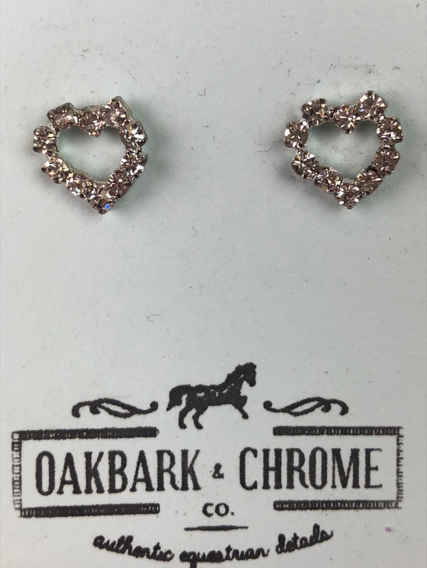 Oakbark and Chrome Pave Heart Earrings in Crystal - One Size