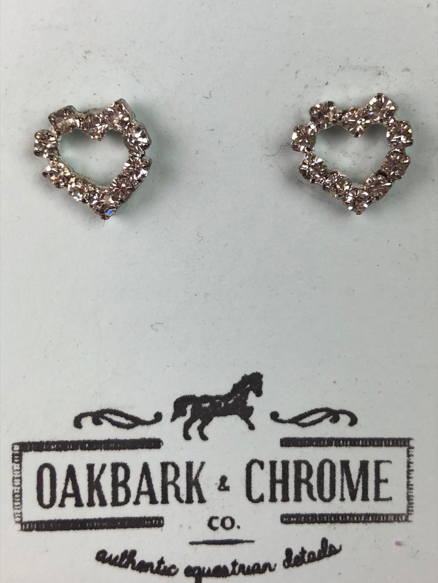 Oakbark and Chrome Pave Heart Earrings in Crystal - Front View