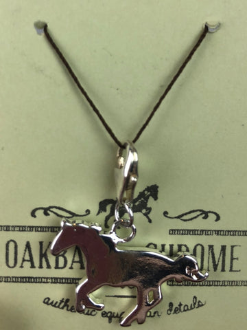 Oakbark and Chrome Horse Charm in Silver - Front View