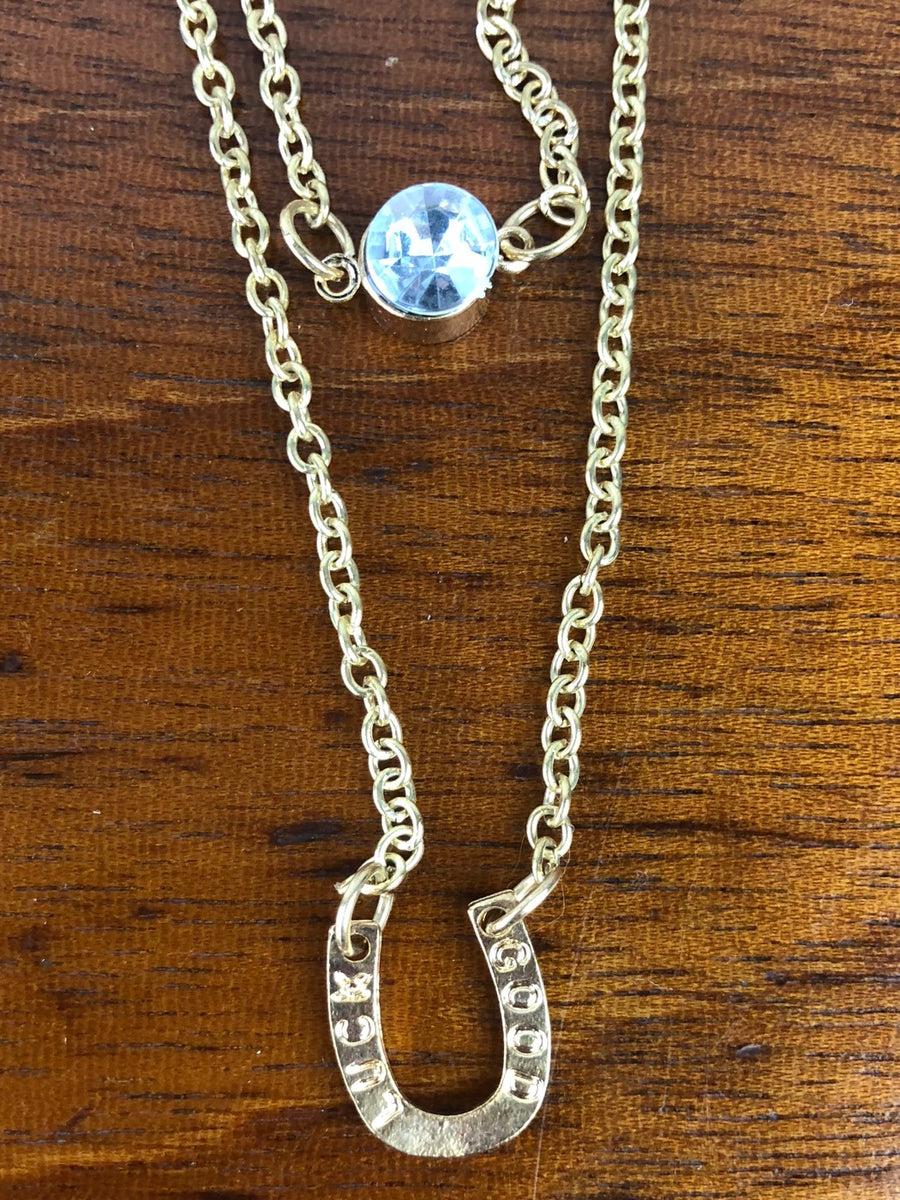 Oakbark and Chrome Layered Horseshoe Necklace in Gold - Front Close Up View