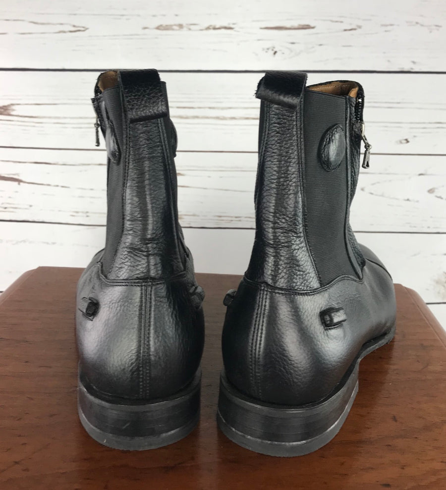 DeNiro T03 Paddock Boots in Black - Back View
