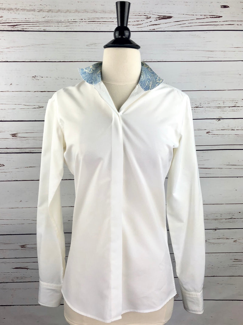 RJ Classics Prestige Show Shirt in White/Blue Paisley - Women's 30