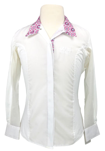 Equine Couture Kelsey Show Shirt in White/Pink - Children's 8 | S