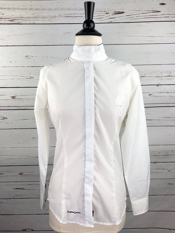 Equine Couture Debbie Stephens Collection Show Shirt in White/Navy/Red -  Front View