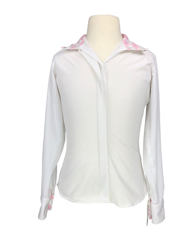RJ Classics Prestige Stretch Show Shirt in White/Pink Argyle - Children's 12 | M